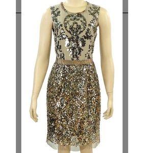 Elie Tahari gold sequin dress size 8